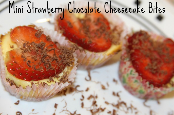 Mini Strawberry Chocolate Cheesecake Bites